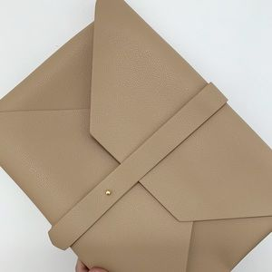NWOT Tan Clutch/Document Holder with Gold Hardware